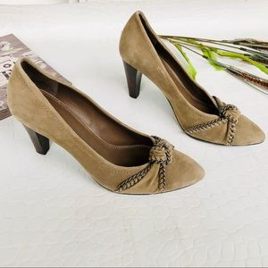 """B. Makoswsky """"Karly"""" Taupe Suede Pumps"""